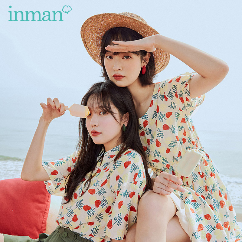 INMAN 2020 Summer New Arrival Cute Print Nipped Waist Sweet Literary Pure And Fresh Short Sleeve Dress