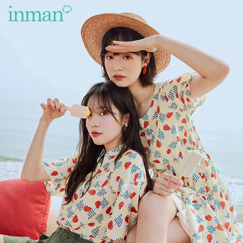 INMAN 2020 Summer New Arrival Cute Print Nipped Waist Sweet Literary Pure And Fresh Short Sleeve Dress