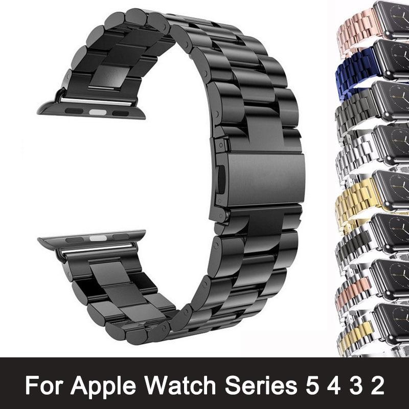Per Apple Watch Series 6 5 4 3 2 cinturino cinturino 40mm 44mm 42mm adattatore cinturino cinturino in acciaio inossidabile nero per cinturino iWatch 4 3 38mm 1