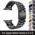 Ремешок из нержавеющей стали для Apple Watch Series 6 5 4 3 2, черный браслет-адаптер для iWatch Band 4 3 38 мм, 40 мм 44 мм 42 мм