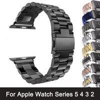 Correa de acero inoxidable para Apple Watch Series 6, 5, 4, 3, 2, 40mm, 44mm, 42mm, negro, adaptador para iWatch Band 4, 3, 38mm