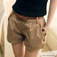 Pantalones cortos de Verano para Mujer, pantalón Corto informal, cintura media, estilo inglés liso, Verano # cjh
