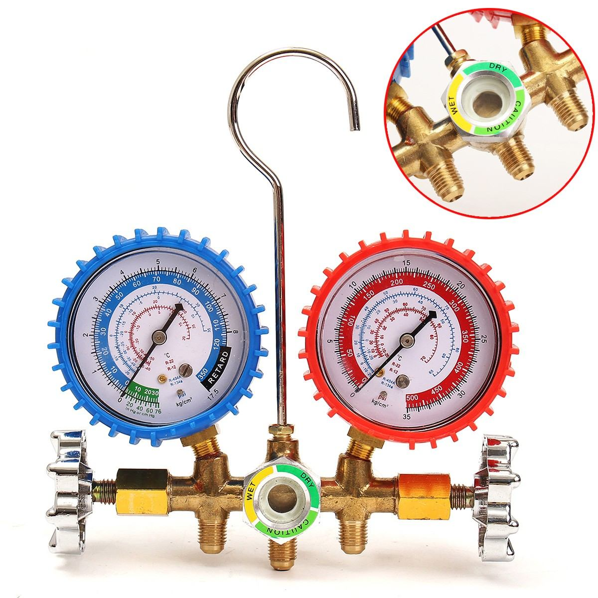 home improvement : Air Conditioning Manifold Gauge Set Lightweight Test Diagnostic Kit for R134A R12 R22 R502 Refrigerant Portable Repair Tools