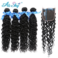 Alisky Hair Water Wave Bundles With Closure Brazilian Hair Weave 4 Bundles With 5x5 Closure Natural Color Remy Hair Extension