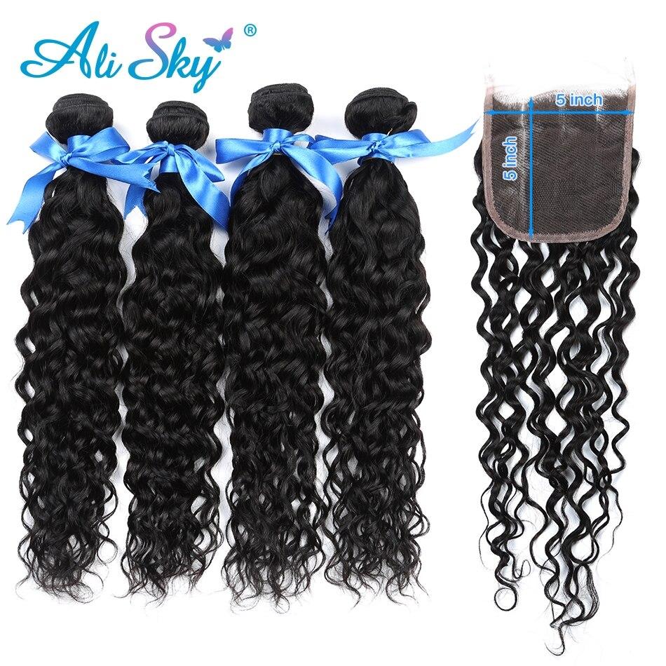 Alisky cabelo onda de água pacotes com fechamento tecer cabelo brasileiro 4 pacotes com 5x5 fechamento cor natural remy extensão do cabelo