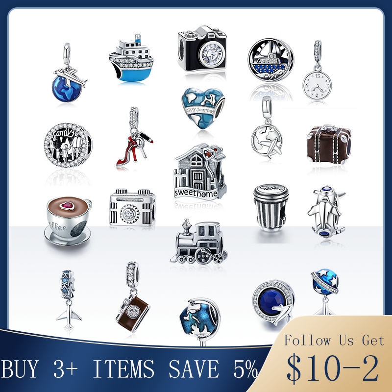 Hot Sale 100% Real 925 Sterling Silver Family House Camera Coffee Cup Shoes Charm Fit Original Pandora Bracelet DIY Jewelry