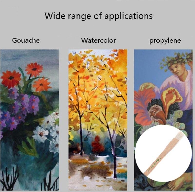 Goat Hair Handle Art Supplies Watercolor Acrylic Wood Oil Paint Brush Six Sizes K1MF