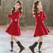 Girls Red Boutique Kids Outfits Autumn Fashion Knitted Cute
