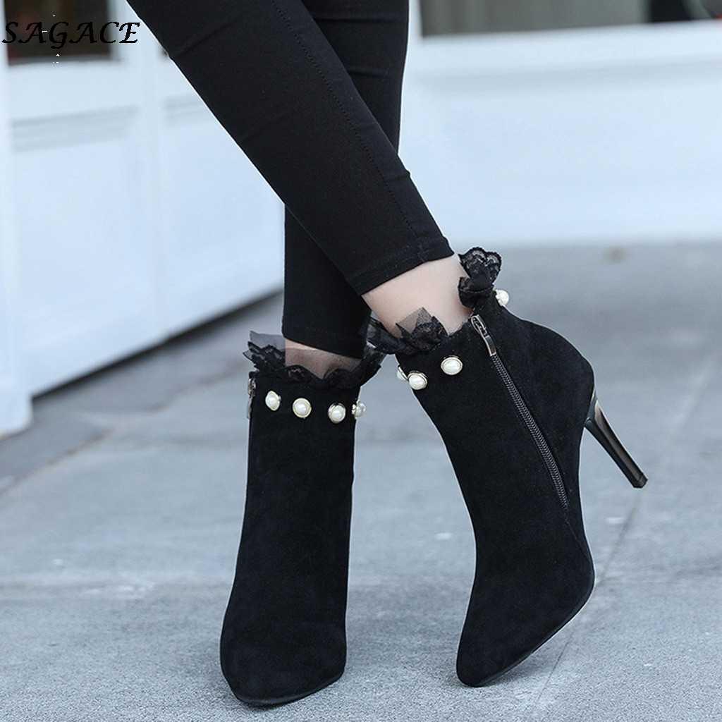 SAGACE seksi ince topuklu ayakkabı kadın sonbahar kış moda sivri burun kısa ayak bileği çizmeler bayanlar Casual fermuar ayakkabı Chelsea çizmeler