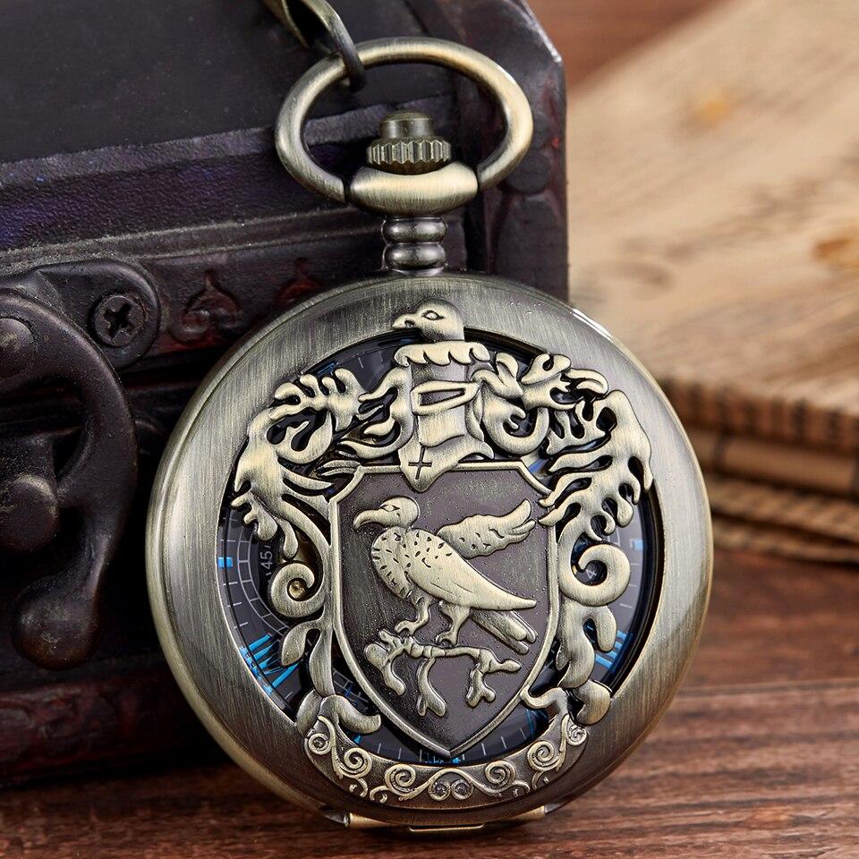 Vintage Gold Black Mechanical Pocket Watch Laser Engraved Clock Hand Winding Men Women Fob Watch Chain Necklace Pendant