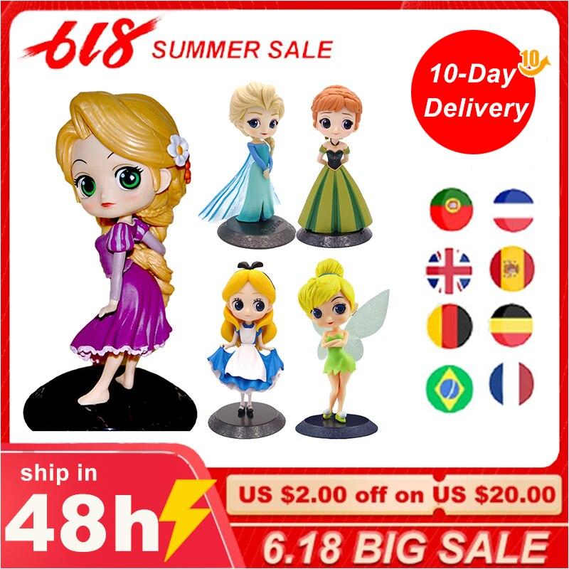7.5 CM Frozen Aisha Anna Q Version Birthday Cake Toy Decoration Alice Tinker Bell Rapunzel Action Doll Toy Gift