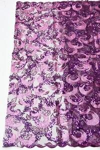 Image 2 - מכירה לוהטת פאייטים נטו תחרה בד 2019 אפריקאית באיכות גבוהה רשת חתונה הכלה שמלת תפירת נצנצים רקום חומר DG847