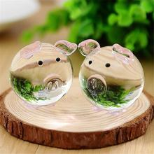7 Piece Cute Pig Crystal Figurines Miniatures Handmade Glass Animal Pet Crafts Home Decor Kids Gifts Random Color