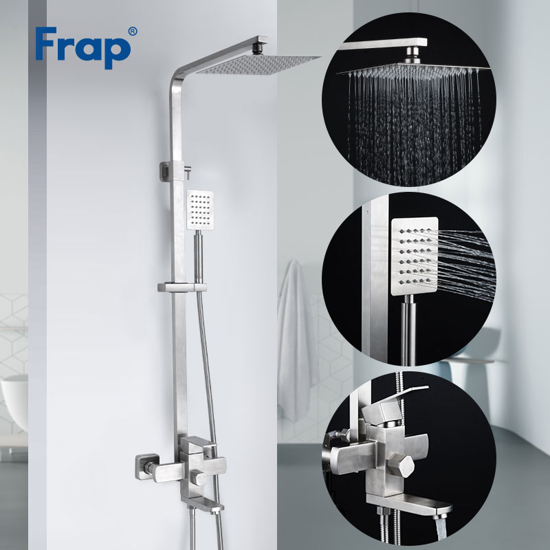 Frap New Wall Mounted Shower System Stainless Steel Rain Shower Faucets Set System Cold&hot Water Square Hand Shower Panel Tap