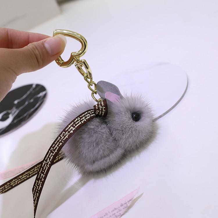 Copenhagen mink fur rabbit doll pendant plush mini Jade Rabbit bag pendant key chain cute adorable rabbit pendant