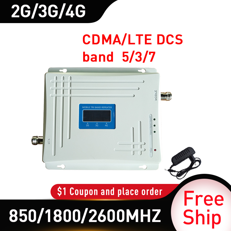 4G Amplifier 850 1800 2600MHZ Tri-Band Signal Booster GSM DCS LTE 4G Mobile Signal Repeater Cell Phone Cellular Amplifier Band 5