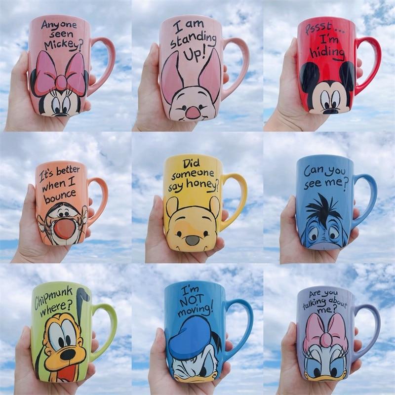 1 Piece 500mL Disney Mickey Minnie Cartoon Ceramic Water Cup Coffee Milk Mug Home Office Collection Cups Women Girl Gifts