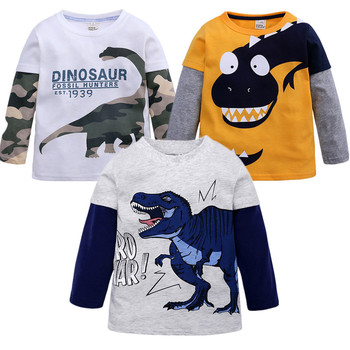 2020 New Cartoon Dinosaur Boy T Shirt For 2-11Y Cotton Long Sleeve Kids Boys Tee Top Spring Autumn Children Clothes Baby shirt