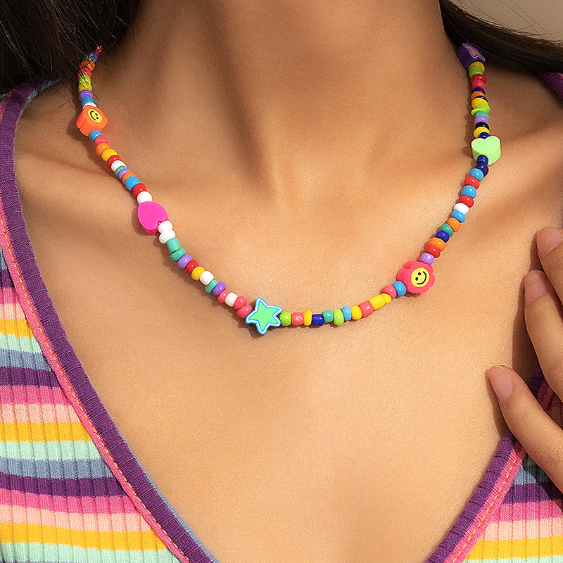 90s Aesthetic Heart Flower Smile Necklace for Women Beads Bohemian Rainbow DIY Nostalgic Vintage Necklace Charms Y2k Jewelry New