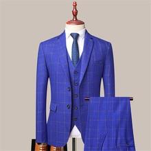 Three-piece Blazer Male Formal Business Plaids Suits for Men's Fashion Boutique Plaid Wedding Dress Suit Jacket + Vest + Pants