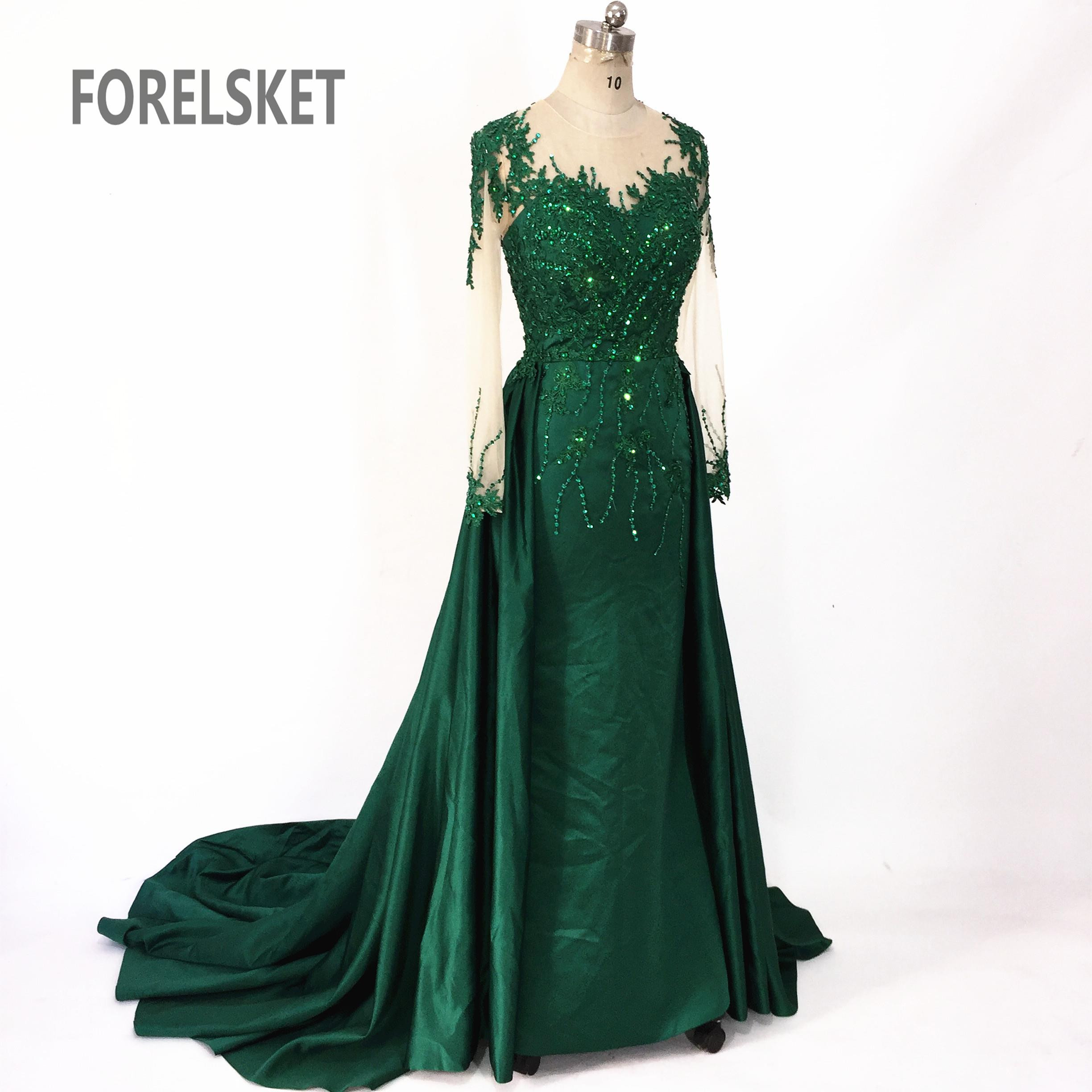 Beading Satin Mermaid Prom Dresses Green 2020 Illusion Saudi Arabia Lace Appliques Long Sleeves Formal Long Evening Party Gowns