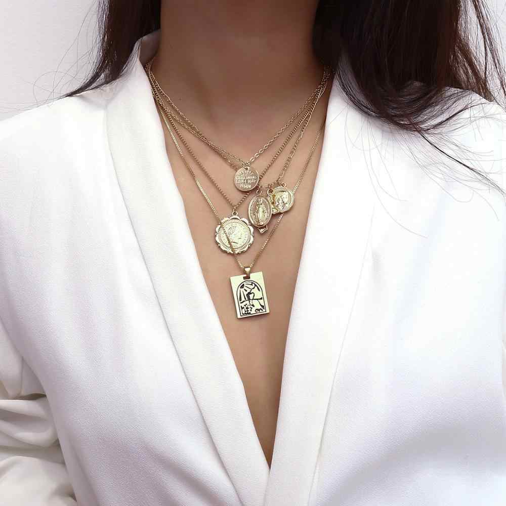 Fashion Gold Color Cross coin necklace for women Virgin Mary Jesus statement chain choker Collier Rose jewelry