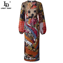 Midi Skirt Suit LINDA Chiffon DELLA Summer Long-Sleeve Floral-Print 2pieces-Set Fashion