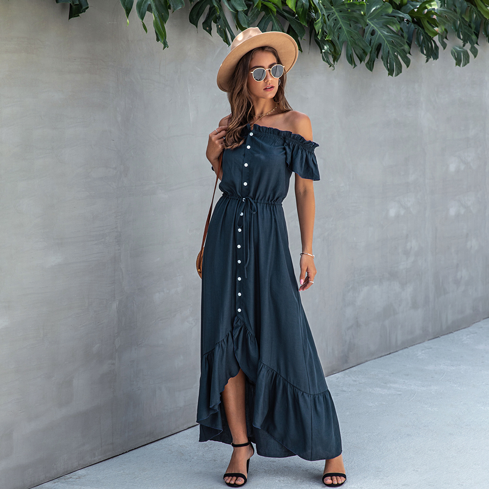 Dress Long Robe Elegant Off Shoulder Women Strapless Backless Ruffle Summer Sundresses Casual Ladies Fitted Maxi Clothing 2020 4