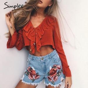 Simplee Ruffles lace up chiffon blouse shirt women Sexy v neck flare sleeve tassel tank top 2017 Summer beach short blusas