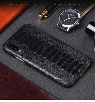Natural Ostrich Leather case For Huawei p30 P20 Lite pro Mate 20 leather phone case for Honor 20 20 Pro 9x v20 protection sleeve