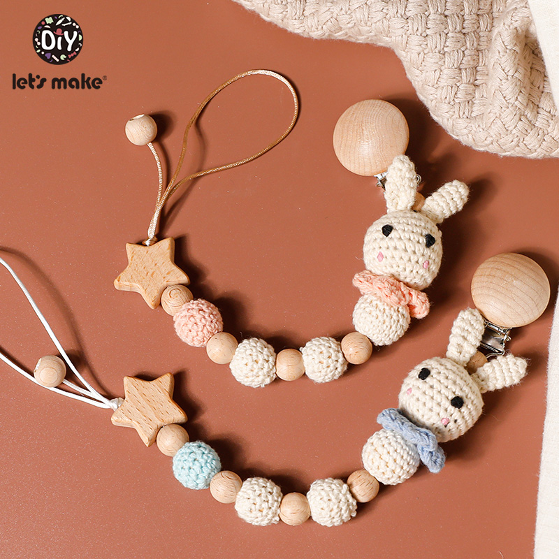 Let's Make Pacifier Chain 1pc Baby Teeting Chains Crochet Rabbit Panda Beads Wooden Clips Wood Teether Tiny Rod Kids Dummy Clips