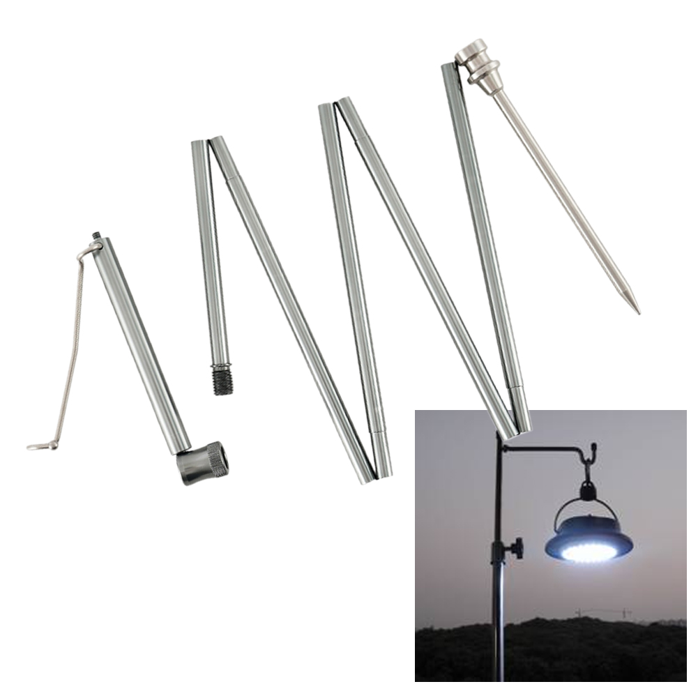 Outdoor Aluminum Alloy Lamp Holder Ultralight Portable Fishing Trekking Hiking Outdoor Activities Folding Lamp Pole