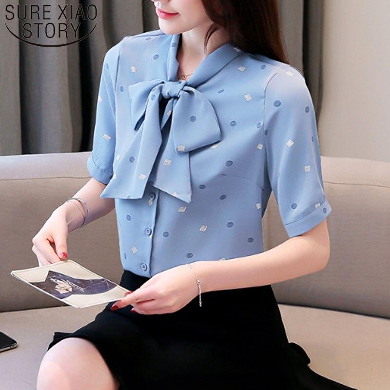 >2019 Fashion Women Chiffon Blouses Short Sleeve Bow Casual Women Tops Office Lady <font><b>Print</b></font> <font><b>White</b></font> <font><b>Blue</b></font> Women Clothing 5242 50