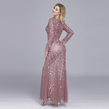 Plus Size Evening Dresses Mermaid O Neck Full Sleeve Lace Appliques Tulle Long Party Gown Robe Soiree Elegant Formal Dress