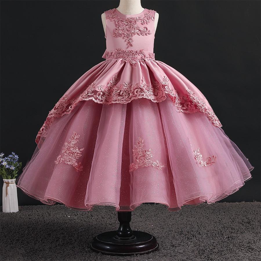 Kids Wedding Red Dresses For Girls infantil Elegant Flower Princess Long Gown Teenagers vestidos Girl Birthday Carnival Dress