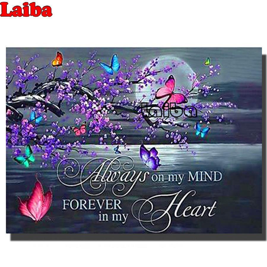 Бабочки сливы цветок Алмазная мозаика любовь, луна текст Алмазная краска на заказ, алмазная картина полностью квадратная круглая Алмазная ...