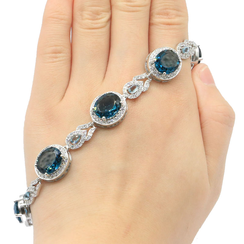 32x14mm Pretty Created London Blue Topaz White CZ SheCrown Silver Bracelet 7.5-8.5in