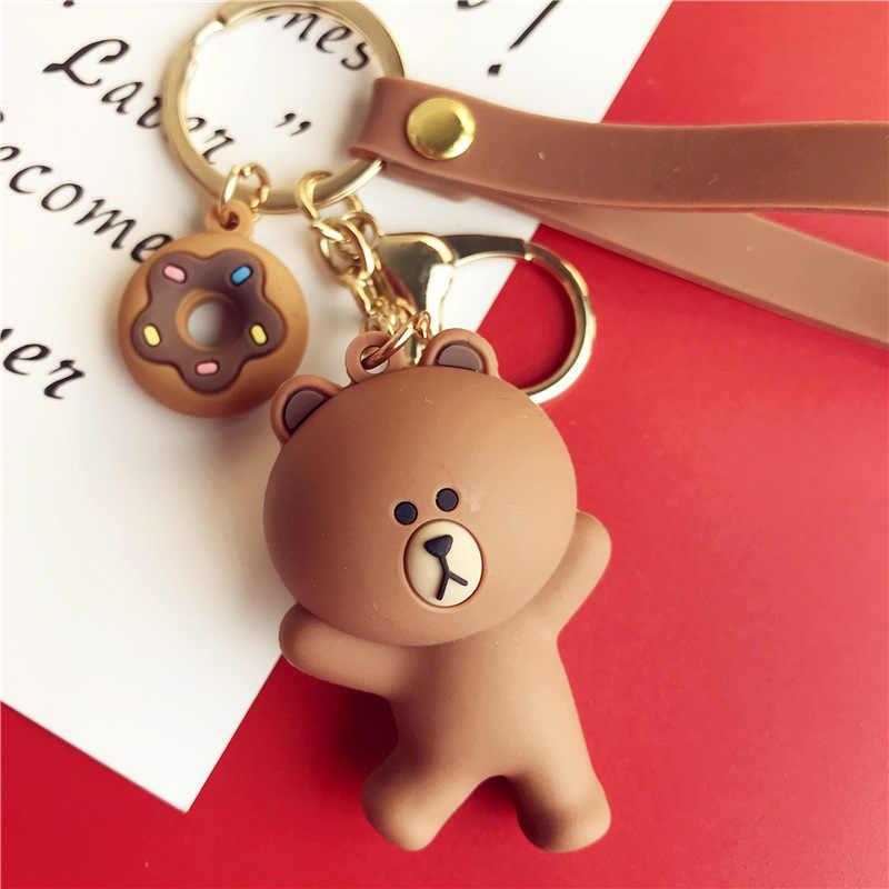 Bonito Dos Desenhos Animados Urso Keychain Presentes Para Mulheres Meninas Bolsa Pingente Epóxi PVC Figura Encantos Chaveiros Jóias Para Homens Ou mulheres Chaveiro