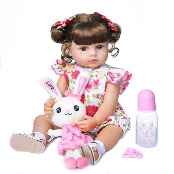 "22"" Baby Doll Simulated Babies girl full silicone vinyl Dolls Children Toys Birthday Gift For Babies boneca reborn  npk doll"
