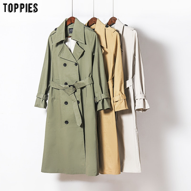 Toppies 2021 Spring Long Trench Coat Women Double Breasted Slim Trench Coat Female Outwear Fashion Windbreaker Trench  - AliExpress