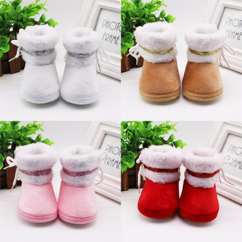 Baby Girl Winter Boots With Hairbands Toddler Newborn Cute Soft Sole Shoes Girls First Walkers Keep Warm Snow Booties