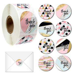 500pcs Creative Striped Thank You Round Stickers for Gift Bag Labels DIY Decoration Diary Scrapbooking