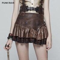 PUNK RAVE New Casual Fashion Steampunk Ruffles Lace Sexy Pu Leather Punk A Line Women Miniskirt Party Bubble Goth Mini Skirt