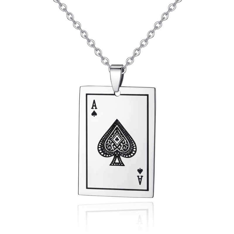 Men Fashion Stainless Steel Spades A Poker Card Pendant Necklace Personality Lucky Cards Chain Necklace Fashion Jewelry