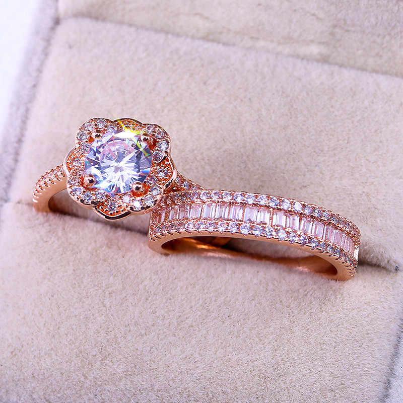 Luxe Vrouwelijke 925 Zilveren Kristallen Zirkoon Ring Set Vintage Rose Gouden Trouwringen Voor Vrouwen Bloem Bridal Engagement Ring