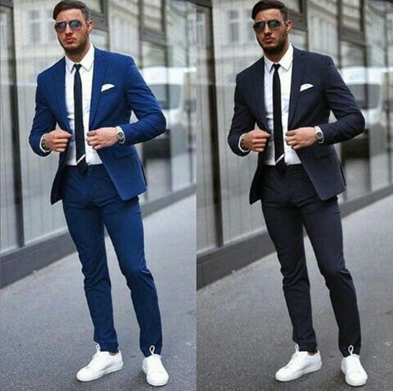 Blue/Black Tuxedo Men Suits For Wedding 2Pieces Business Suit Blazer Peak Lapel Costume Homme Terno Party Suits(jacket+pant)