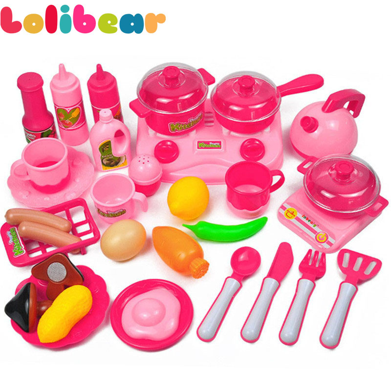 33pcs/set Kids Kitchen Toy Pretend Play Plastic Vegetables And Fruit Food Tea Cup Dishes Simulation Cooking Set Goods Girls Toys