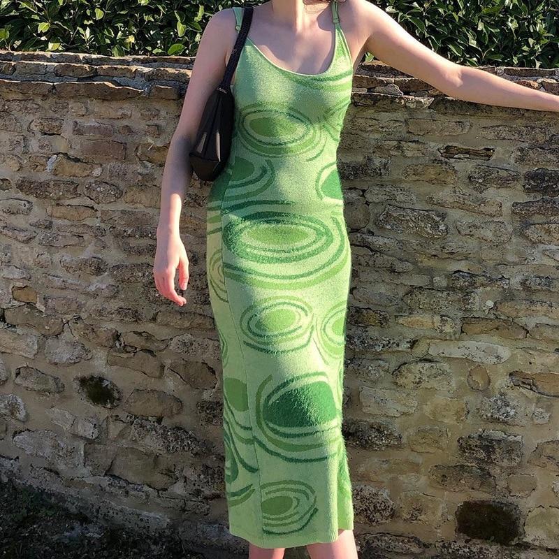 2021 Summer Beach Midi harajuku Dresses Women Party Print Knit Bodycon Dress Women Green Spring Hollow Out Sexy Sleeveless 4