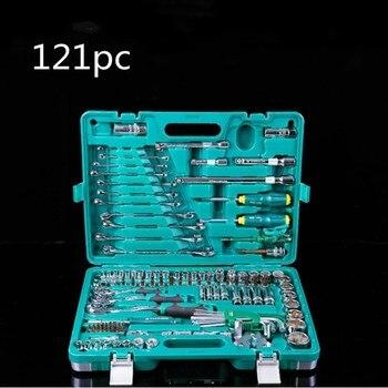 цена на Chromium-vanadium Steel 121-piece Socket Tool Combination Auto Repair Wrench Set Hardware Tools