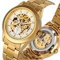 Изысканный ажурный циферблат механические часы для Для мужчин нежный Нержавеющаясталь ремешок Часы мужские светящиеся стрелки horloges mannen
